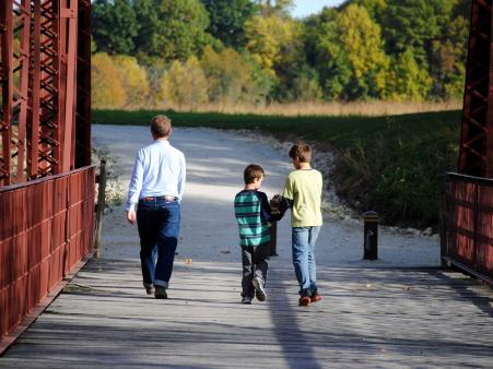 Dads like spending time with their kids at McCloud Nature Park near North Salem.