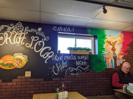 interior mural of la torta loca restaurant in florence ky