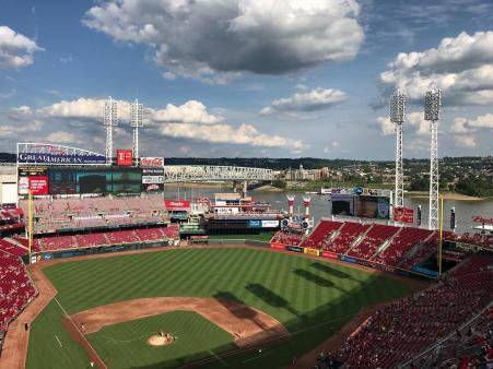 picture of the field and stadium from atop great american ballpark home of the cincinnati reds in cincinnati ohio