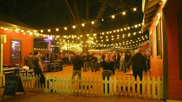 Bangers patio bar at night