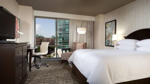 Bedroom in Marriott hotel.