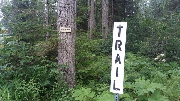 a sign in a forest marking the start of a hiking trail