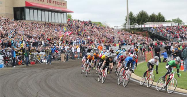 Little 500 men's race, with bikers and the crowd