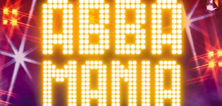 Abba Mania neon lit logo