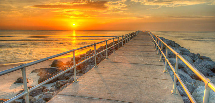 Ponce Inlet Jetty at sunrise