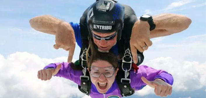 Two tandem skydivers in the air over DeLand