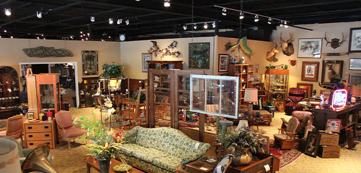 Interior view of Dunn's Attic & Auction House in Ormond Beach