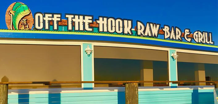 Outdoor deck at Off the Hook at Inlet Harbor
