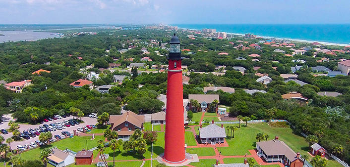 An aerial view Ponce Inlet Lighthouse