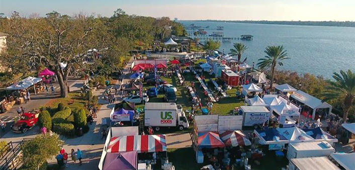 An aerial view of Riverfest Seafood Festival in Ormond Beach on the Halifax River