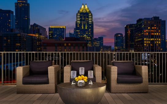 Hilton Austin Walkway to Convention Center Patio with Skyline View