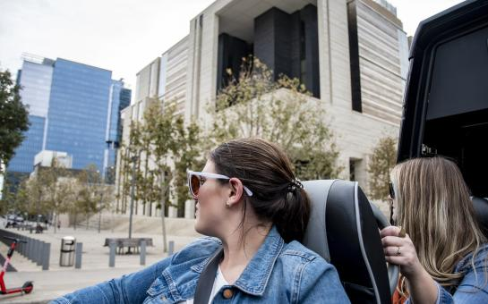 Woman on AO Tours Austin Very Best of Austin Tour - Passing Federal Courthouse