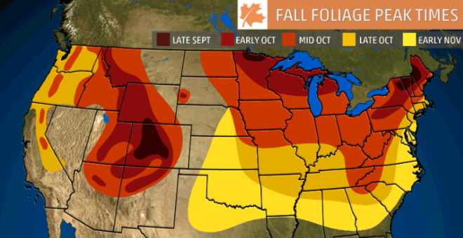 2018 Fall Foliage Map - Weather Channel
