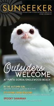 Image of cover of Sunseeker Magazine (Allegiant In-Flight Magazine) - Featuring Luna (owl) from Peace River Wildlife Center