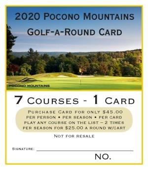 2020 Pocono Mountains Golf-A-Round Card