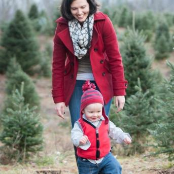 Mother and Child at Christmas Tree Farm