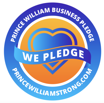 An orange and blue circle with the words - Prince William Business Pledge, We Pledge, PrinceWilliamStrong.com