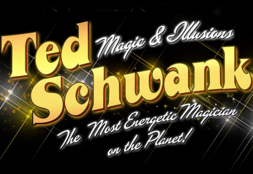 Promotional poster for Magic in the Plaza with Ted Schwank