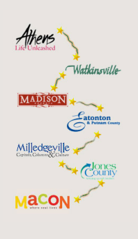 Antebellum Trail map with logos