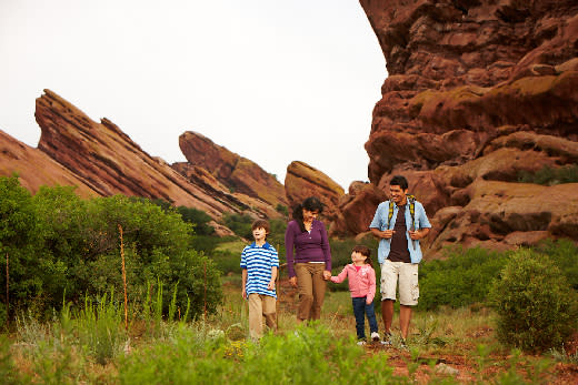 Family walking at Red Rocks Amphitheater