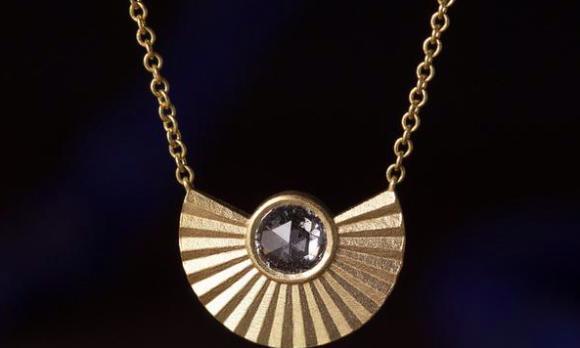 Phoenix Necklace with Salt & Pepper Rose Cut Diamond