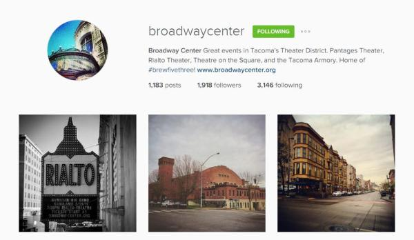 Broadway Center Instagram account