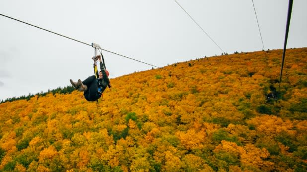 Person riding Zip Line at Hunter Mountain