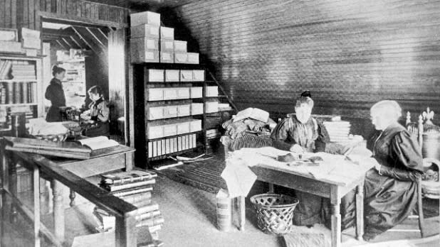 Susan B. Anthony in her attic workroom