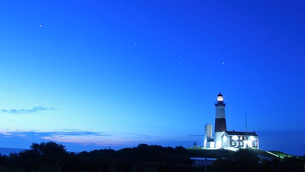 Sunset view of Montauk Lighthouse on Long Island