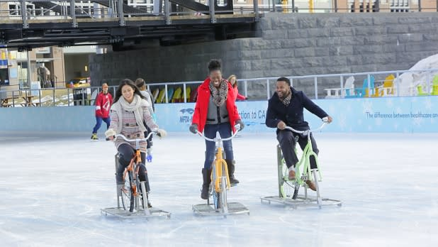 Friends Riding an Ice Bike at Canalside