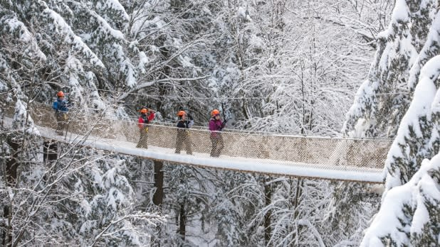 Hikers on Bridge at Bristol Mountain