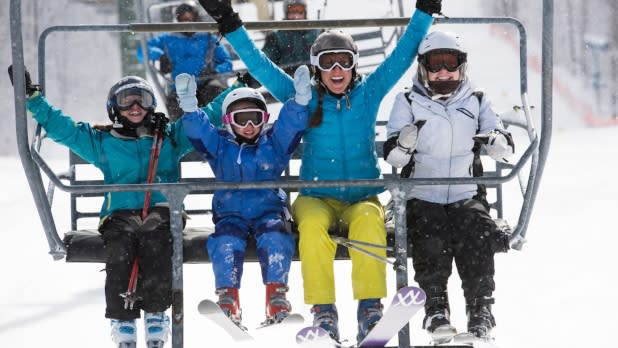 Skiers on Chairlift at Bristol Mountain Ski Center