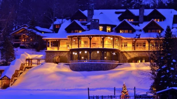Night lights lit at the Lake Placid Lodge