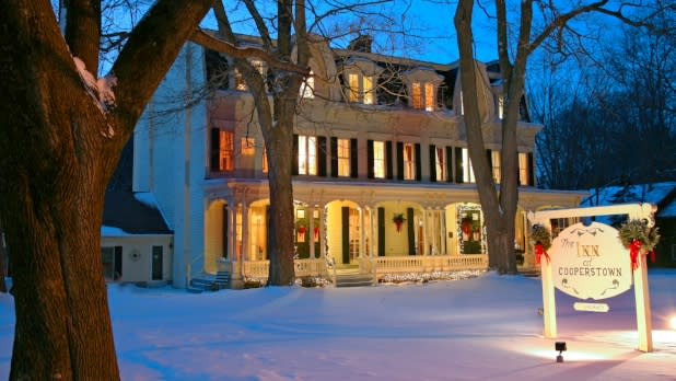 Inn at Cooperstown in the snow at wintertime