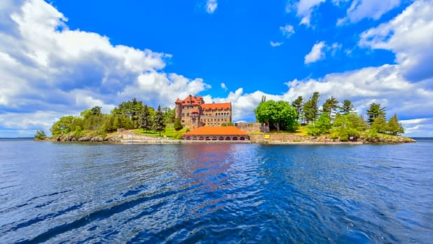 View of Singer Castle from the water of St. Lawrence River