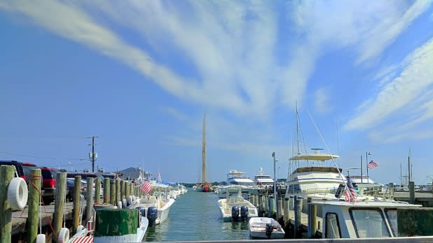 Boats at a marina in Greenport, NY