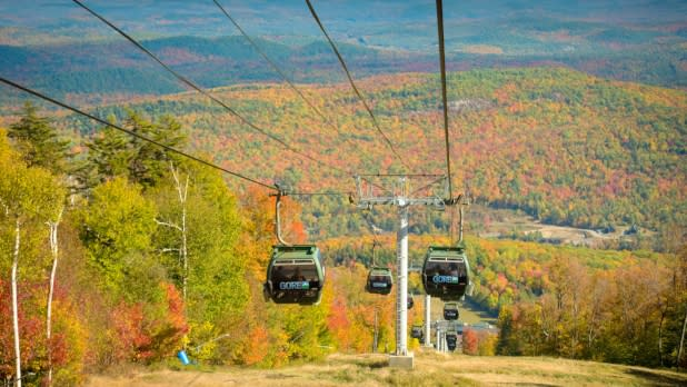 View of fall foliage from the ski lift on Gore Mountain