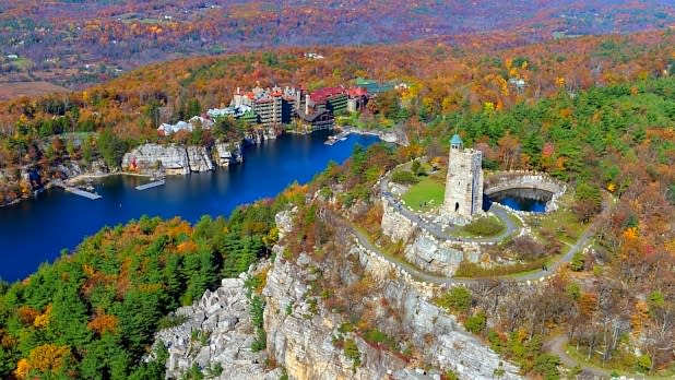 Aerial view of Mohonk Mountain House in Shawangunk Mountain escarpment