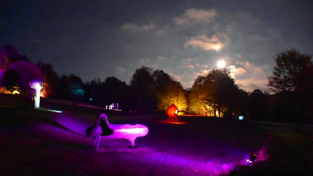 Nighttime lights at Griffis Sculpture Park