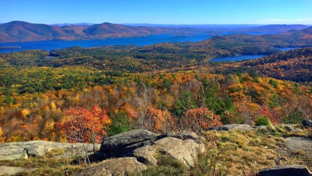 Aerial view of Lake George in the Adirondacks
