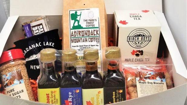 A gift box of products such as coffee and syrup from the Adirondacks