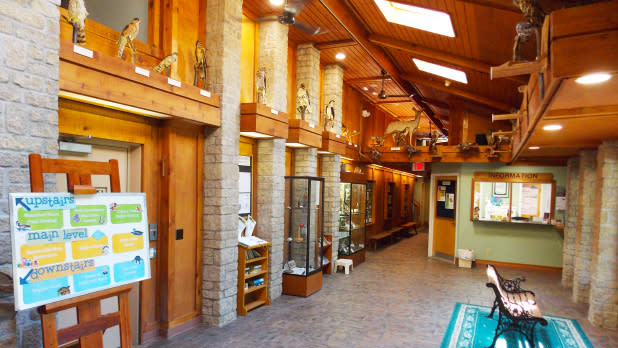 Inside the nature center with exhibits and Wildlife observation windows