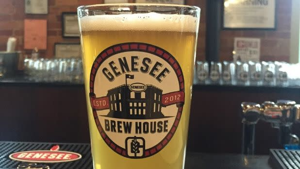 Glass of beer on bar at Genesee Brew House, Rochester, New York