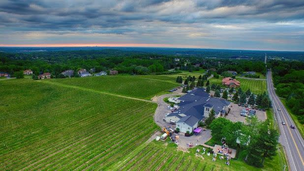 Aerial view of Casa Larga Vineyards, Fairport, New York