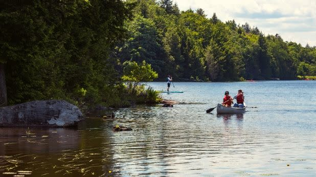 Canoeing/ Paddle Boarding at North-South Lake Campground , Haines Falls, NY, Greene County, Catskill Region