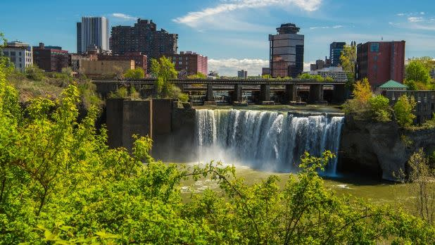 The skyline of Rochester with High Falls in the middle, New York
