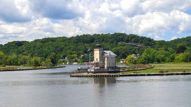 Rondout Creek Lighthouse in Kingston from Hudson River- Hudson Valley Region