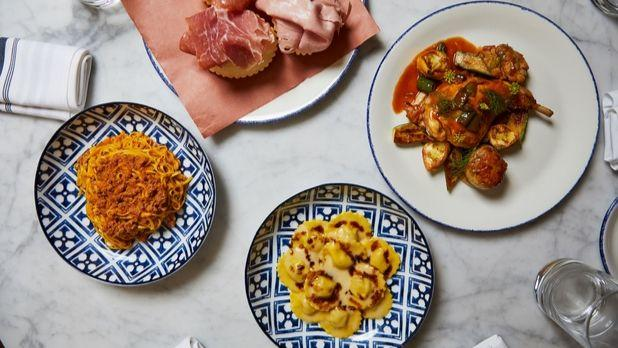Rezdora flat lay of pastas and appetizers