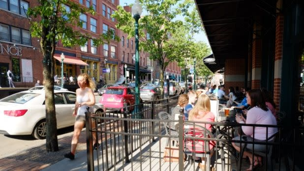 Outdoor dining and walking at Armory Square in Syracuse, New York