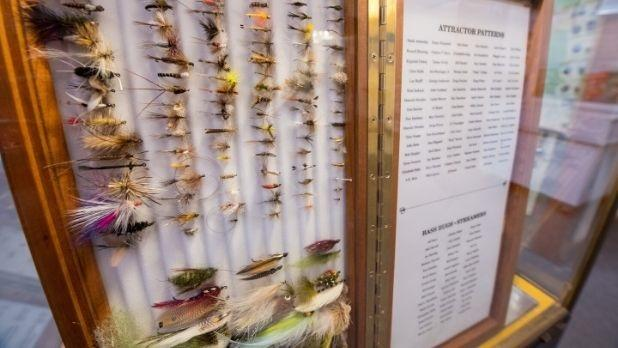 Glass case with fishing flies at Catskill Fly Fishing Center & Museum
